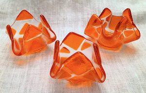 "Orange Tealight Holder (approx. 3"" x 3"" x 2""), $8 each"