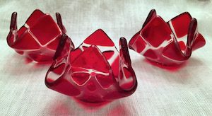 """Red Tealight Candle Holder (approx. 3""""x3""""x2""""), $8"""