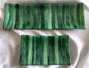 "Streaky Tray: Forest (long approx. 4"" x 11.5"", $25; short approx. 4"" x 6.75"", $12.50)"